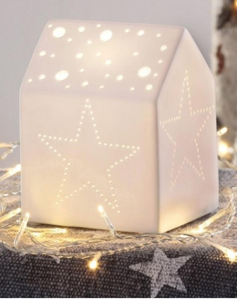 boltze deko haus tisch lampe lichthaus aus porzellan. Black Bedroom Furniture Sets. Home Design Ideas